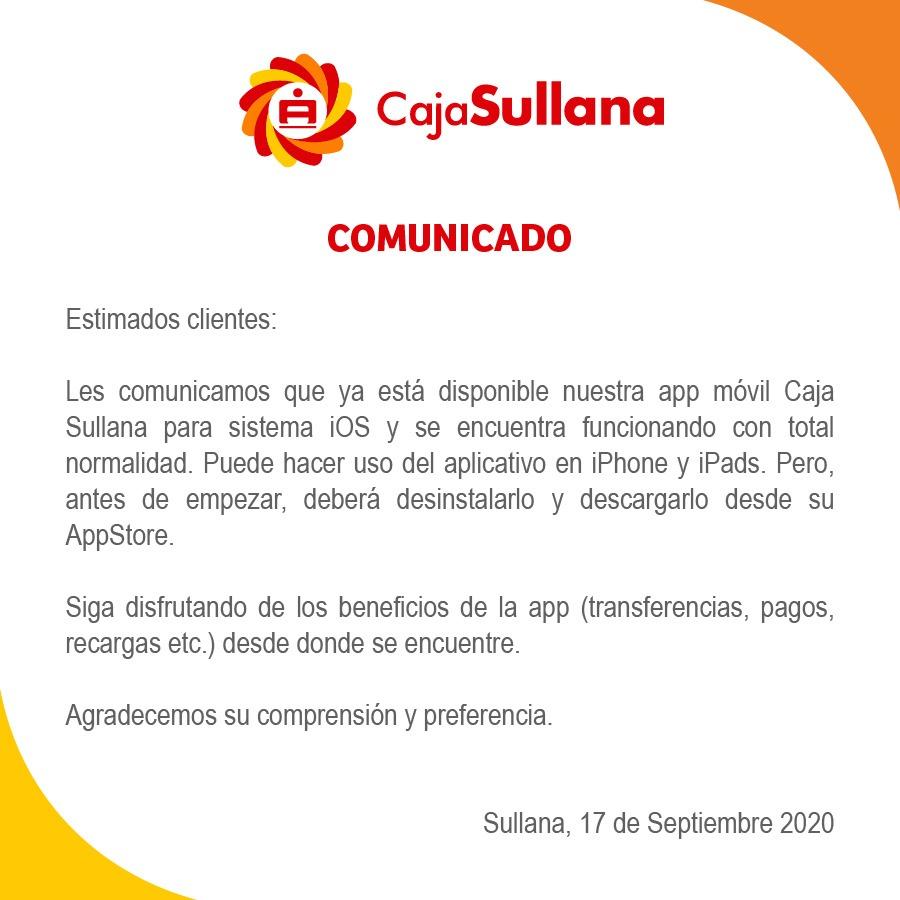 Caja Sullana, Comunicado